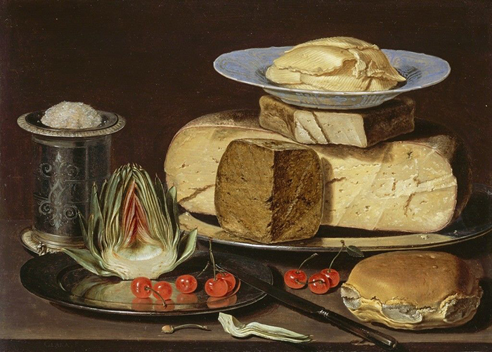 """Still Life with Cheeses, Artichoke, and Cherries"